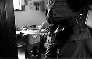Roma Giugno 2000.Carcere di Rebibbia N.C..Agente penitenziario, sulla porta di una cella...Rome June 2000.Prison Rebibbia N.C..Prison officer at the door of a cell.