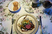 Gourmet meal roast veal traditional plate, wine at Sonderho Kro Hotel and Restaurant furniture on Fano Island, Denmark