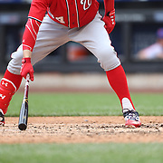 NEW YORK, NEW YORK - July 10: Bryce Harper #34 of the Washington Nationals goes through his batting ritual in the batters box during the Washington Nationals Vs New York Mets regular season MLB game at Citi Field on July 10, 2016 in New York City. (Photo by Tim Clayton/Corbis via Getty Images)
