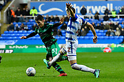 Paul Smyth (37) of Queens Park Rangers is challenged by Chris Gunter (2) of Reading during the EFL Sky Bet Championship match between Reading and Queens Park Rangers at the Madejski Stadium, Reading, England on 30 March 2018. Picture by Graham Hunt.