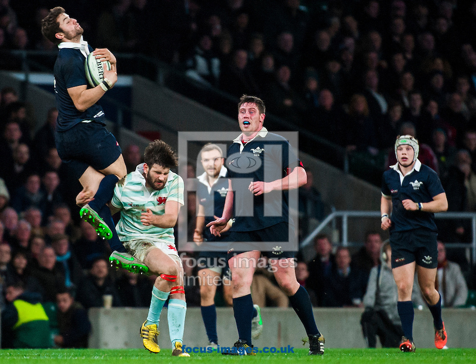 Simon Davis of Cambridge University is booked for a tackle while his Henry De Berker of Oxford University is in the during the The Mens Varsity Match match at Twickenham Stadium, Twickenham<br /> Picture by Jack Megaw/Focus Images Ltd +44 7481 764811<br /> 10/12/2015