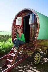 Carol Klein with her gypsy caravan