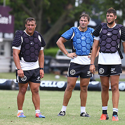 DURBAN, SOUTH AFRICA - JANUARY 20: Coenie Oosthuizen with Etienne Oosthuizen  and Ruan Botha during the Cell C Sharks training session at Growthpoint Kings Park on January 20, 2017 in Durban, South Africa. (Photo by Steve Haag/Gallo Images)