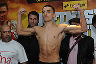 Picture by Ramsey Cardy/Focus Images Ltd +44 7809 235323.08/02/2013.Lee Selby weighs in for his fight v Martin Lindsay in Odyssey Arena, Belfast..