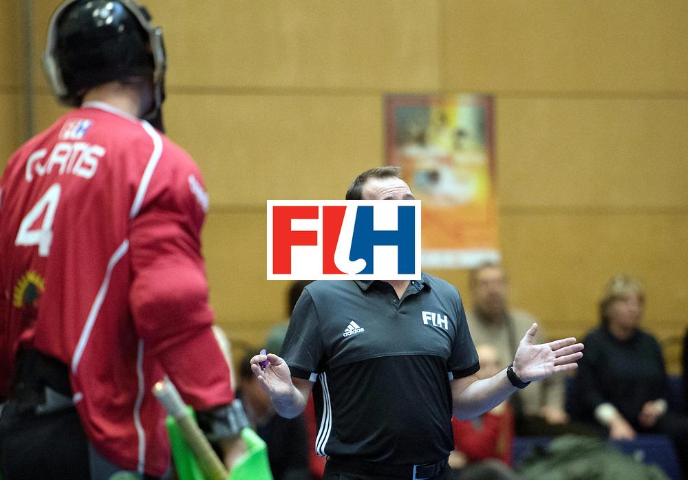 BERLIN - Indoor Hockey World Cup<br /> South Africa - Belgium<br /> foto: Umpire Lee Barron<br /> WORLDSPORTPICS COPYRIGHT FRANK UIJLENBROEK