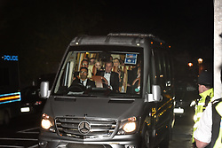 © Licensed to London News Pictures. 04/06/2019. London, UK. Sisters Tiffany Trump, Lara Trump & Ivanka Trump leave Winfield House, the US ambassador's residence in Regent's Park, in an armoured blacked out minibus after a dinner, hosted by her father US President Donald Trump and First Lady Melania Trump bringing to a conclusion day two of the President's state visit to the UK.   Photo credit: Guilhem Baker/LNP