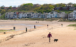 North Berwick, Scotland, UK. 26 April 2020. View of beach at North Berwick with very few people outdoors. Lockdown seems to be taken seriously in North Berwick with empty beaches and streets normal over the last month.  Iain Masterton/Alamy Live News