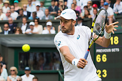 LONDON, ENGLAND - Monday, July 4, 2016:  Steve Johnson (USA) during the Gentlemen's Single 4th Round match on day eight of the Wimbledon Lawn Tennis Championships at the All England Lawn Tennis and Croquet Club. (Pic by Kirsten Holst/Propaganda)