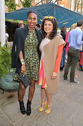 PICTURE SHOWS:-Left to right, SUSAN BENDER and DANIELLA HELAYEL.<br /> Tuesday 14th April 2015 saw a host of London influencers and VIP faces gather together to celebrate the launch of The Ivy Chelsea Garden. Live entertainment was provided by jazz-trio The Blind Tigers, whilst guests enjoyed Moët & Chandon Champagne, alongside a series of delicious canapés created by the restaurant's Executive Chef, Sean Burbidge.<br /> The evening showcased The Ivy Chelsea Garden to two hundred VIPs and Chelsea<br /> residents, inviting guests to preview the restaurant and gardens which marry<br /> approachable sophistication and familiar luxury with an underlying feeling of glamour and theatre. The Ivy Chelsea Garden's interiors have been designed by Martin Brudnizki Design Studio, and cleverly combine vintage with luxury, resulting in a space that is both alluring and down-to-earth.