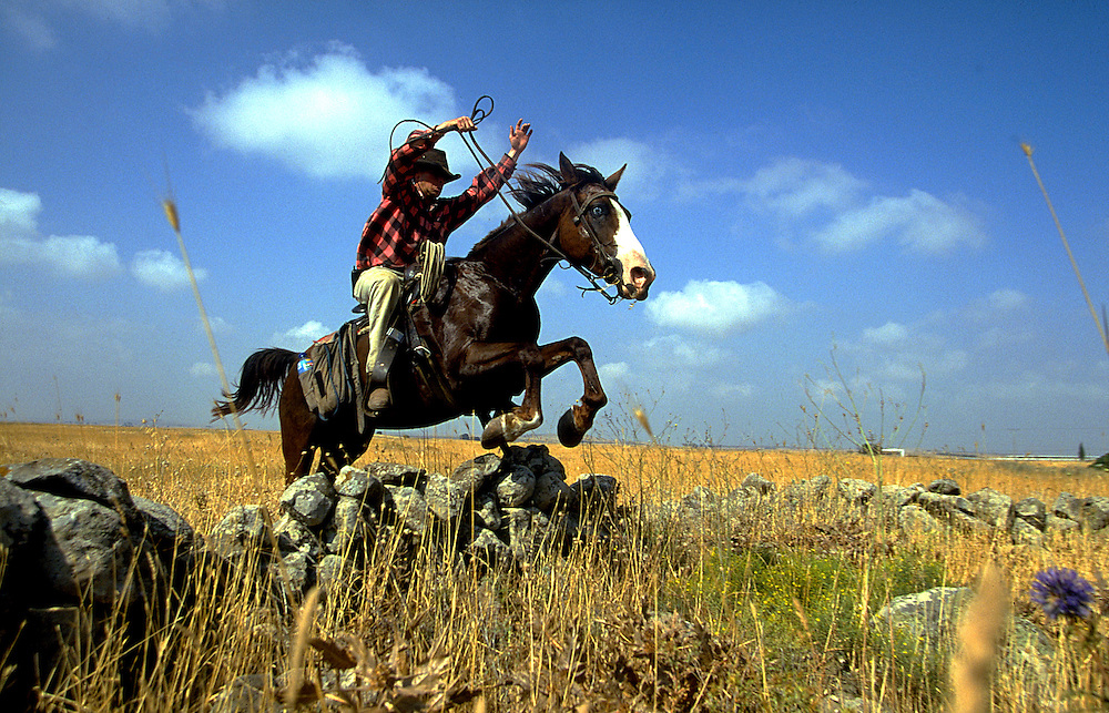Ofer Hiltovski 30  riding his horse during a morning patrols watching the flock of Moshav Yehonatan in the Golan height, Israel.Wednesday October 6 1999....