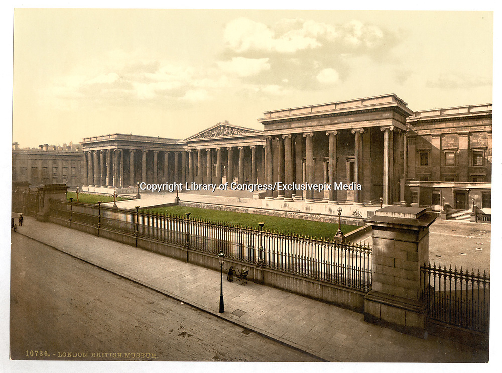 Stunning Old photochrome prints turn back the clock in London <br /> <br /> colourised postcards from the Victorian era,  postcards were made using photochrom - a method of producing colourised photos from negatives<br /> <br /> Photo shows: British Museum, London, England], between 1890 and 1900<br /> ©Library of Congress/Exclusivepix Media