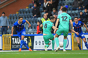 GOAL Jordan Williams shot is deflected into his own net by Jon Mellish during the The FA Cup 1st round match between Rochdale and Gateshead at Spotland, Rochdale, England on 10 November 2018.