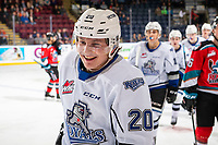 KELOWNA, BC - NOVEMBER 6: Ty Yoder #20 of the Victoria Royals skates to the bench to celebrate a goal against the Kelowna Rockets at Prospera Place on November 6, 2019 in Kelowna, Canada. (Photo by Marissa Baecker/Shoot the Breeze)