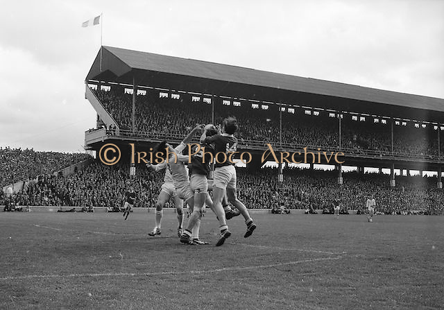 Corks full forward M. Doherty (no.14) gets the ball in a scuffle with Sligo's J. Brennan during the All Ireland Minor Gaelic Football Final Sligo v. Cork in Croke Park on the 22nd September 1968. Cork 3-5, Sligo 1-10.
