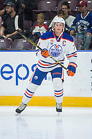 PENTICTON, CANADA - SEPTEMBER 16: Kyle Platzer #71 of Edmonton Oilers warms up on the ice against the Vancouver Canucks on September 16, 2016 at the South Okanagan Event Centre in Penticton, British Columbia, Canada.  (Photo by Marissa Baecker/Shoot the Breeze)  *** Local Caption *** Kyle Platzer;