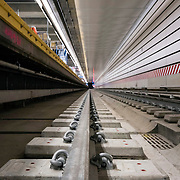 December 12, 2016 - New York, NY :  A view of the track, just below the platform, in the 86th Street Second Avenue subway station on Monday morning. After years of delays, the new subway line is preparing to welcome its first straphangers. CREDIT: Karsten Moran for The New York Times
