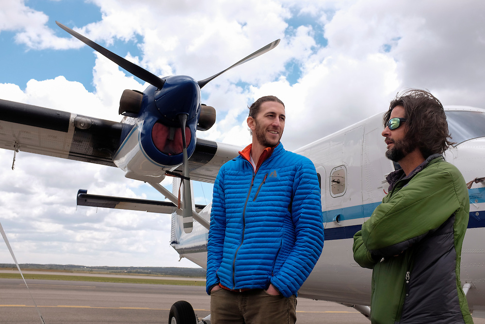 Aircraft used for monitoring regional methane levels are at the ready , La Plata county Airport, Durango, Colorado. Eric Kort, at left, a climate expert with the University of Michigan, explains how the aircraft play a critical role in the regional air quality study of the San Juan Basin.