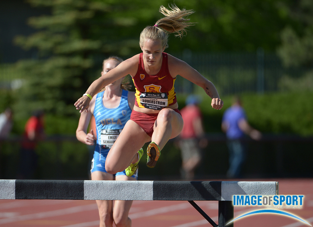 May 17, 2014; Pullman, WA, USA; Kira Soderstrom of Southern California hurdles a barrier in the womens steeplechase in the 2014 Pac-12 Championships at the Mooberry Track & Field Complex.