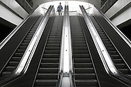 DEU, Germany, Ruhr Area, escalator at the subway station at the Westfalenhalle, exhibition and event hall, fairground.....DEU, Deutschland, Ruhrgebiet, Rolltreppe an der U-Bahnstation Westfalenhalle, Messe Dortmund...[For each usage of my images the General Terms and Conditions are mandatory.]