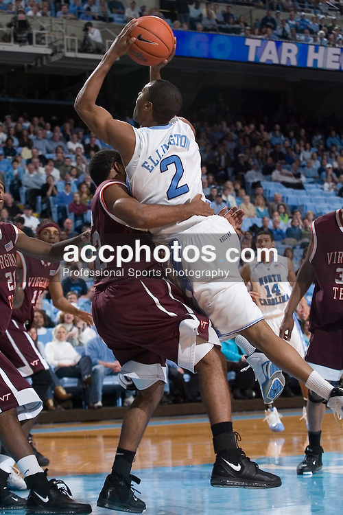 13 February 2007: North Carolina Tar Heels guard Wayne Ellington (2) during a 81-80 Virginia Tech Hokie overtime win over the North Carolina Tar Heels, in the Dean E. Smith Center in Chapel Hill, NC.