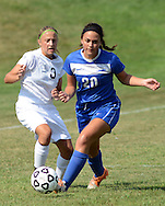 HOLLAND, PA - SEPTEMBER 02: Council Rock South's Julie Rehb #3 battles with Downingtown West's Natalie Ferrer #20 for control of the soccer ball at Council Rock South September 2, 2014 in Holland, Pennsylvania. <br /> (Photo by William Thomas Cain/Cain Images)