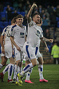 Andy Cook (Tranmere Rovers) celebrates scoring Tranmere's first goal in the opening minutes of the game. 1-0 to the home team during the Vanarama National League match between Tranmere Rovers and Boreham Wood at Prenton Park, Birkenhead, England on 21 February 2017. Photo by Mark P Doherty.