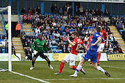 Coventry City defender Aaron Phillips steers the ball out during the Sky Bet League 1 match between Gillingham and Coventry City at the MEMS Priestfield Stadium, Gillingham, England on 2 April 2016. Photo by Martin Cole.