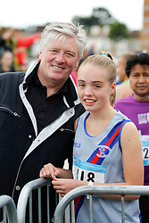 06/08/2012 No fee for Repro: Pat Kenny pictured with his daughter Nicole as she prepairs for the DLR Bay 10K road race. Pic Jason Clarke Photography