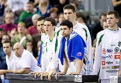 Milorad Sutulovic (5) of Olimpija, Saso Ozbolt (31) of Olimpija, Gasper Vidmar (13) of Olimpija and Jaka Klobucar (8) of Olimpija at Group C of Euroleague basketball match between KK Union Olimpija, Slovenia and Caja Laboral, Spain, on November 5, 2009, in Arena Tivoli, Ljubljana, Slovenia.  (Photo by Vid Ponikvar / Sportida)