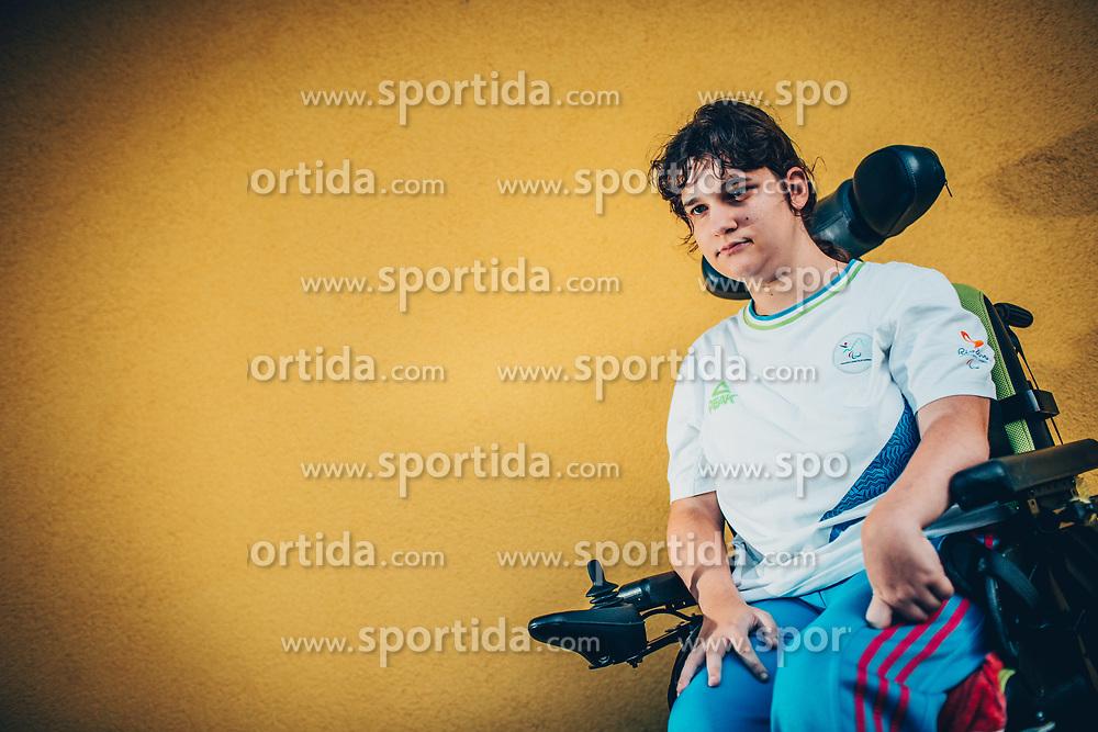 Portrait of disabled boccia athlete Ajsa Perme, on August 8, 2017, in Spodnji Jakobski dol, Slovenia. Photo by Vid Ponikvar / Sportida