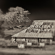 Holiday Valley Barn - Highway 138 - HDR - Lensbaby - Sepia Black & White