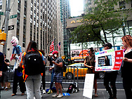 Rally for Bernie in NYC - To protest the Unfair and Interference in the election coverage by media. The rally was held at 45 Rockefeller Plz, New York City, NY 10020, United States