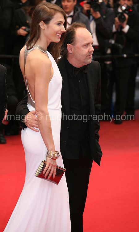 Lars Ulrichat  and Jessica Miller at the red carpet for the gala screening of Jimmy P. Psychotherapy of a Plains Indian film at the Cannes Film Festival 18th May 2013