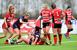 Clara Nielson of Bristol Bears Women celebrates her try - 2019 - RUGBY - Shaftesbury Park - Bristol, England - Bristol Bears Women v Gloucester-Hartpury Women - Tyrrells Premier 15s