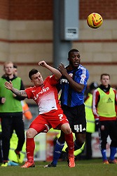Orient's Dean Cox is fouled by Swindon's Troy Archibald-Henville  - Photo mandatory by-line: Mitchell Gunn/JMP - Tel: Mobile: 07966 386802 22/02/2014 - SPORT - FOOTBALL - Brisbane Road - Leyton - Leyton Orient V Swindon Town - League One