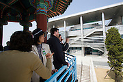 Panmunjom. Joint Security Area. Japanese tour group looking towards the North Korean side.