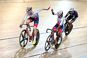 Germain Burton and Mark Stewart of Great Britain compete in the Men's Madison Class 1 40km final during the UCI Cycling World Cup at the Avantidrome, Cambridge, New Zealand, Sunday, December 06, 2015. Credit: Dianne Manson/CyclingNZ/UCI
