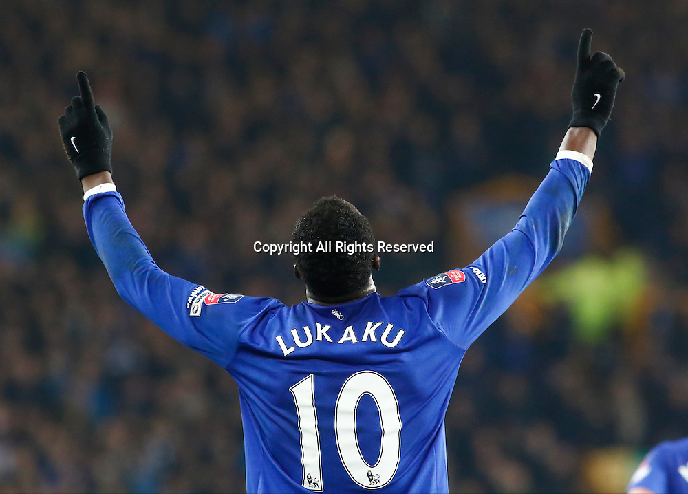 12.03.2016. Goodison Park, Liverpool, England. Emirates FA Cup 6th Round. Everton versus Chelsea. Everton striker Romelu Lukaku celebrates his second goal to put Everton 2-0 up.