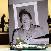 Lazarus <br /> by David Bowie and Enda Walsh<br /> at the Kings Cross Theatre, London, Great Britain <br /> press photocall <br /> 3rd November 2016 <br /> <br />  <br /> Directed by Ivo van Hove and inspired by the novel, The Man Who Fell To Earth, Lazarus focuses on Thomas Newton, as he remains still on Earth - a 'man' unable to die, his head soaked in cheap gin and haunted by a past love. We follow Newton during the course of a few days where the arrival of another lost soul - might set him finally free.<br />  <br /> Michael C Hall as Newton <br /> <br /> <br /> Sophia Anne Caruso as Girl <br /> <br /> <br /> <br /> Photograph by Elliott Franks <br /> Image licensed to Elliott Franks Photography Services