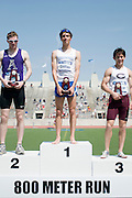 2011/05/28 - The top three finishers in the 800-meter run at the 2011 NCAA Division-3 Championships in Delaware, Ohio. Fredonia's Nick Guarino won in 1:49.89, having already won the 1500-meter run eighty minutes earlier. Guarino was the first Division-3 runner to win both events since Nick Symmonds in 2006. Second place was Ben Scheetz of Amherst, and third place was Andrew Wells-Qu of the University of Chicago.