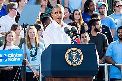 November 2, 2016 - Chapel Hill, North Carolina, U.S - President Barack Obama campaigns for Hillary Clinton in Chapel Hill, NC at the University of North Carolina-Chapel Hill, Michael Hooker Fields. (Credit Image: © Andy Martin Jr. via ZUMA Wire)
