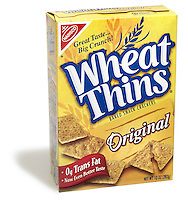 Box of Wheat Thins crackers photographed on a white background.
