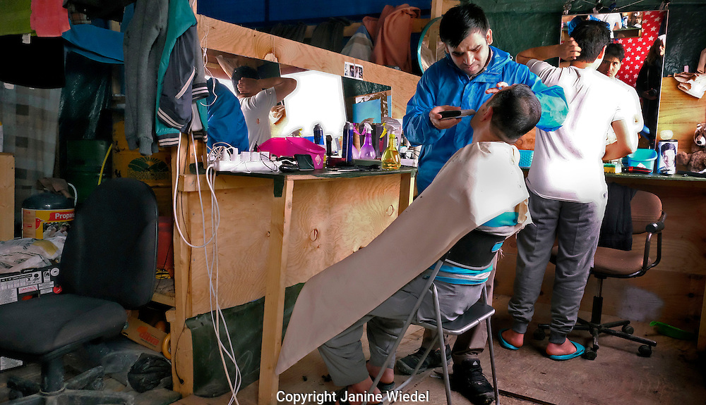 Barber shop in The Calais Jungle Refugee and Migrant Camp in France