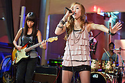 13 MAY 2011 - PHOENIX, AZ: Kylee performs on the plaza for KPNX. Kylee Saunders is a teen pop sensation in Japan, but a normal high school student in Chandler, where she lives. The teenager has a recording deal with Sony and commutes from Arizona to Japan to promote her records.     PHOTO BY JACK KURTZ