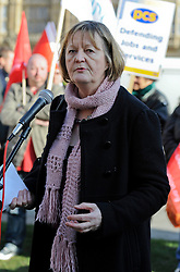 ©London News Pictures. 09/02/2011. Sue Bond from the PCS Union speaks at a rally against the Public Bodies Bill outside Parliament London on 9/2/2011. Photo credit should read: Peter Webb/London News Pictures