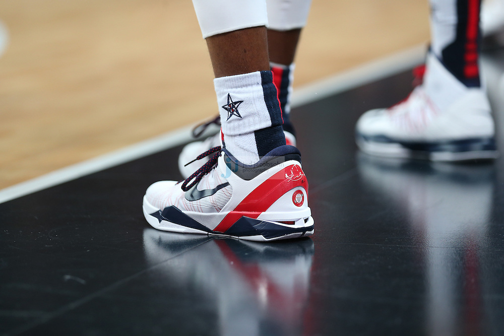 A detail of a shoe of the USA basketball team against France during Day 2 of the London Olympic Games in London, England, United Kingdom on 29 Jul 2012..(Jed Jacobsohn/for The New York Times)....