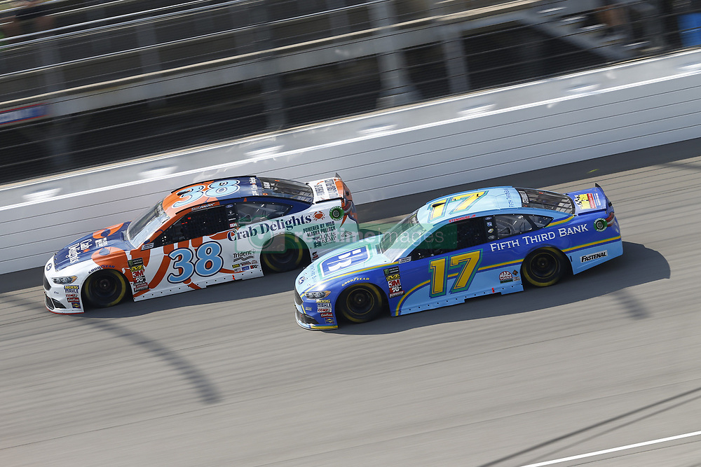 August 12, 2018 - Brooklyn, Michigan, United States of America - David Ragan (38) and Ricky Stenhouse, Jr (17) battle for position during the Consumers Energy 400 at Michigan International Speedway in Brooklyn, Michigan. (Credit Image: © Chris Owens Asp Inc/ASP via ZUMA Wire)
