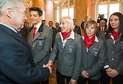29.01.2014, Hofburg, Wien, AUT, Sochi 2014, Vereidigung OeOC, im Bild Bundespräsident Heinz Fischer, Andreas Kofler, Daniela Iraschko-Stolz, Nicole Schmidhofer, Cornelia Hütter // Austrians President Heinz Fischer, Andreas Kofler, Daniela Iraschko-Stolz, Nicole Schmidhofer, Cornelia Hütter during the swearing-in of the Austrian National Olympic Committee for Sochi 2014 at the  Hofburg in Vienna, Austria on 2014/01/29. EXPA Pictures © 2014, PhotoCredit: EXPA/ JFK