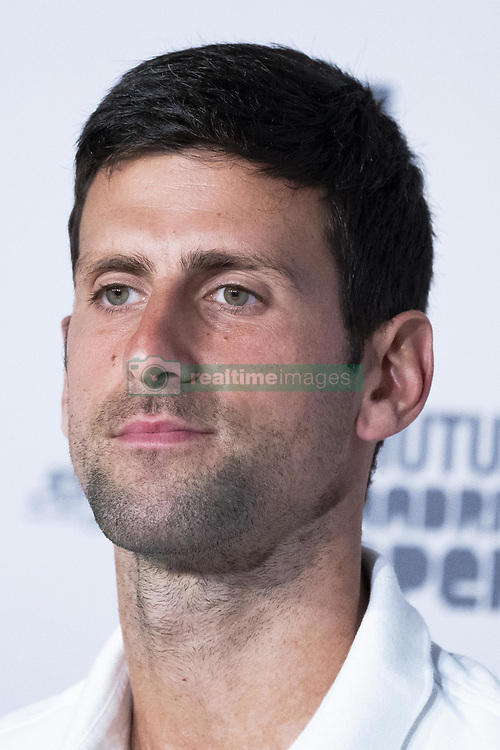 May 6, 2019 - Madrid, Spain - Novak Djokovic of Serbia talks to the media during day three of the Mutua Madrid Open at La Caja Magica on May 06, 2019 in Madrid, Spain. (Credit Image: © Oscar Gonzalez/NurPhoto via ZUMA Press)