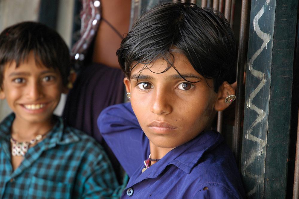 Malhari boys wearing traditional jewelry..Michael Benanav - mbenanav@gmail.com
